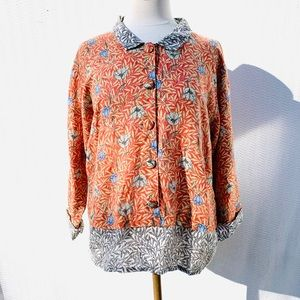 Flax Linen Floral top Sz S tunic